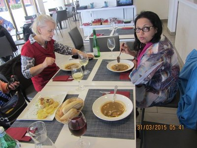 Mala and Helen having a soup in a restaurant in Hondarribia