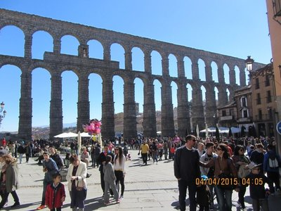 Aquaduct in the background, the main feature in Segovia