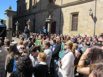 Part of the big crowd watching the Easter Procession in Salamanca