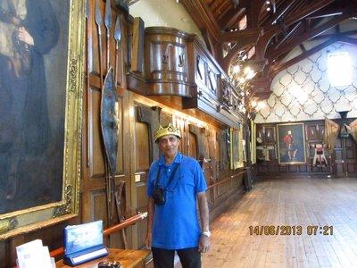 Andrew posing as a king inside Blair Castle