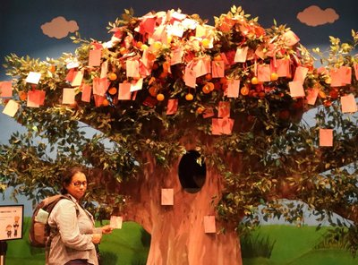 Making a wish at the Wishing Tree