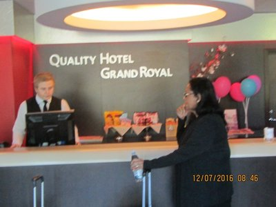 Mala at the Quality hotel Grand Royal reception