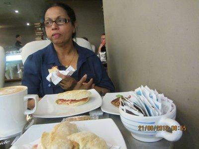 Mala having Scones and cream tea in Windsor