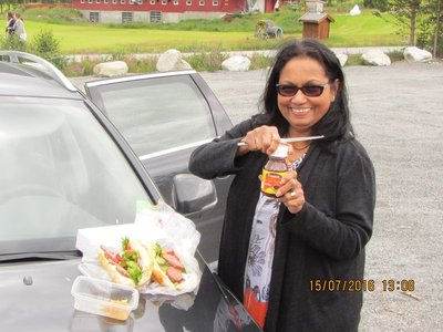 Mala making lunch at the way side rest area