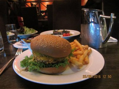 Mala's Finnish Burger with a touch of Chilli and Chips