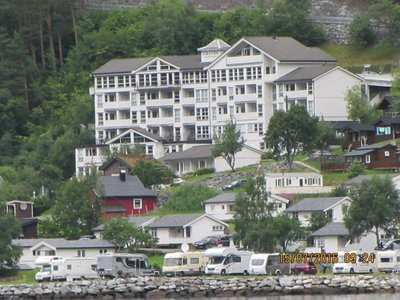 Our Geiranger Grande Fjord hotel from the cruise boat