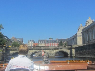 Our boat approaching the marblke bridge