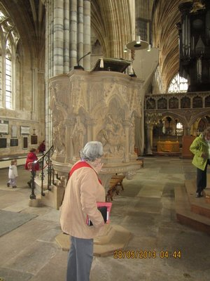 Our tour guide explianing intricate details of the cathedral
