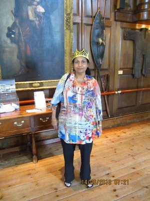 Mala posing as a queen inside Blair Castle