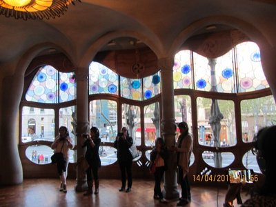 Stained glass windows in Gaudi's Casa Batllo