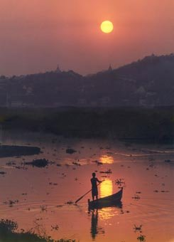 Sunset Irrawaddy and Pagodas