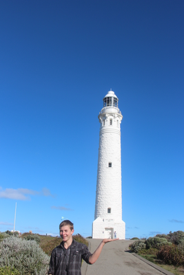 Rory holds up Cape Leeuwin Lighthouse