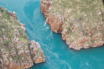 Chopper flight over the falls