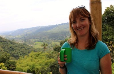 Enjoying a cup of freshly roasted and brewed coffee at the Don Eduardo coffee farm