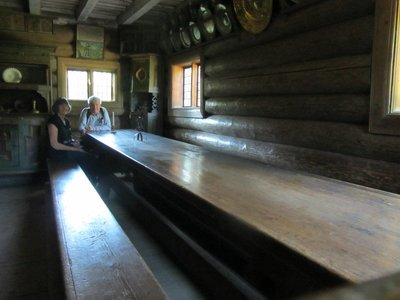 Interior of a 1620 farmhouse, The table is 19 feet long.