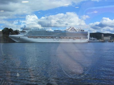 Cruise liner tied up at street wharf- (Oslo fiord is nearly 300 metres deep but very narrow