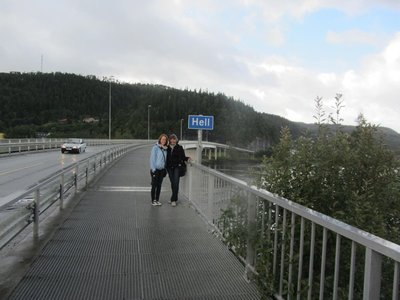 ON THE BRIDGE LOOKING TOWARDS HELL. NORMA AND KATRINA HALFWAY THERE