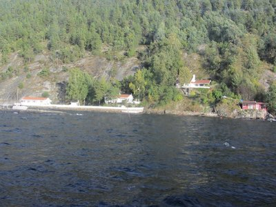 THIS PHOTO AND 4 MORE OF HOUSES ALONG THE FIORD ON THE WAY BACK FROM DROBAK.