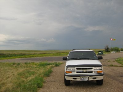 Hmm, maybe this isn't the safest place to stop to geocache when another storm's coming...