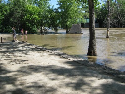 Flooded Red River at The Forks