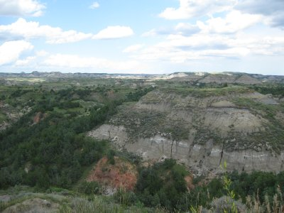 Scenic Lookout over colourful, mineral-laden Badlands