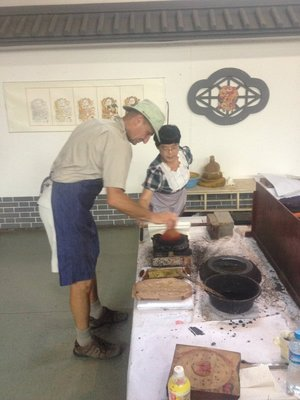 Silk screening lesson in Kaifeng Museum