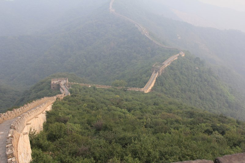 The Great Wall snaking along the mountain tops