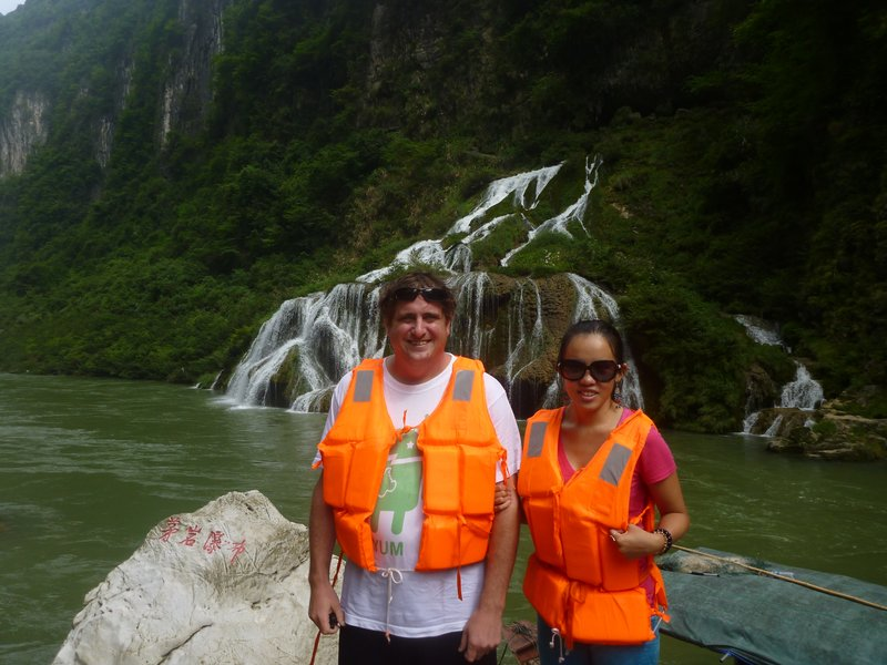 Jeremy and Nicole in front of the Waterfalls