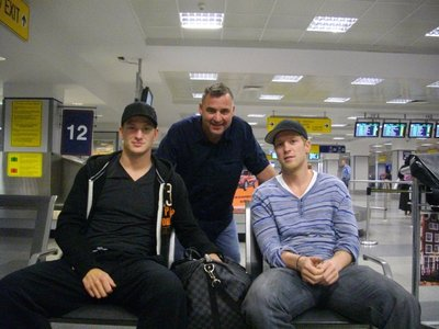 Ladi, Todd and Hemmer; waiting for luggage in Prague