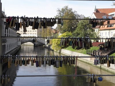 Lover's padlocks left on bridge