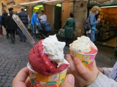 Giolitti's gelato - cheery ice with whipped cream on the left for Elizabeth!