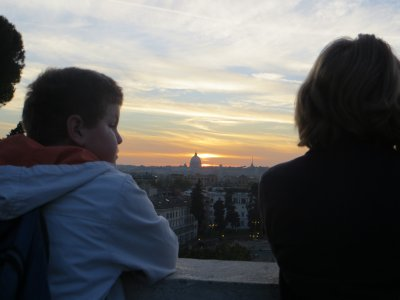 sunset from above Piazza del Popolo, in Villa Borghese park