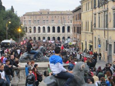 student protest near Il Vittoriano
