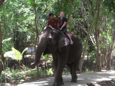 Graham riding elephant