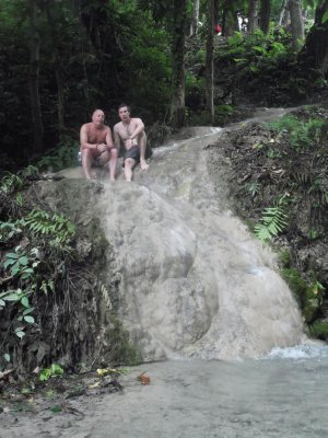 Liam and his Dad at Sticky Waterfall