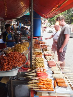 Liam and his Dad browsing the day Market at Chiang Mai