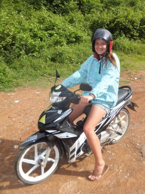 Motor biking to Kouang Si waterfalls, Luang Prabang