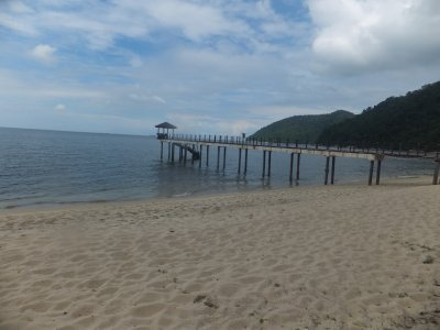 jetty at Pantai Keracut beach in Penang national park
