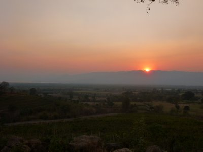Sunset over Inle Lake seen from Red Mountain Vineyard