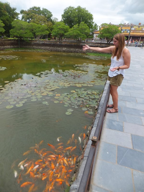 Hue Citadel feeding the fish