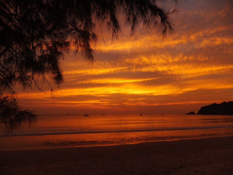 Sunset on Ao Yai beach on Ko Phayam