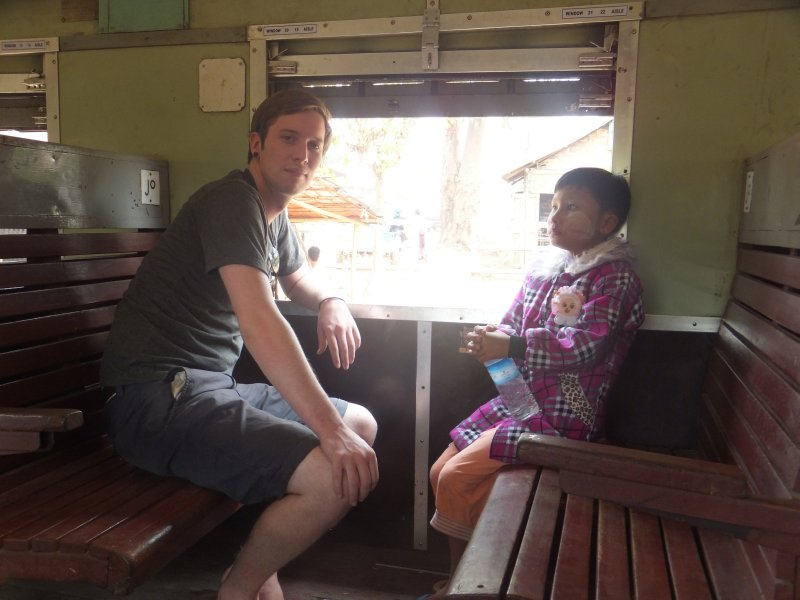 Mixing wth the locals on the train to Hsipaw