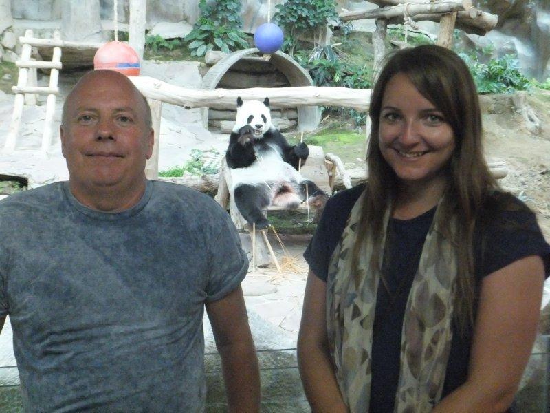 Graham and Chelsea with Panda at Chiang Mai Zoo