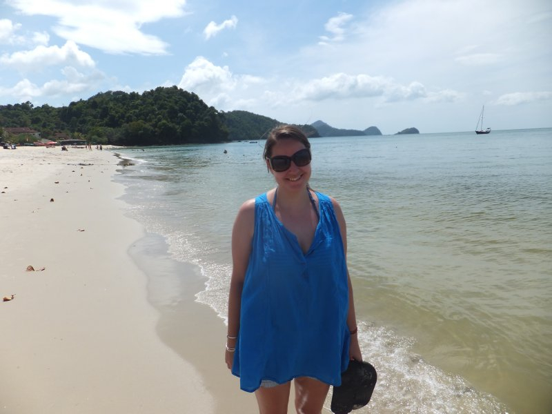 Chelsea on the beach in Langkawi