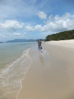 Liam walking on the beach in Langkawi