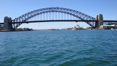 Sydney Harbour Bridge and Sydney Opera House in background
