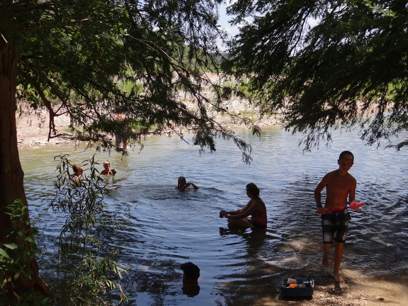 Shady swimming area at Pedernales Falls off the Trammel River Road