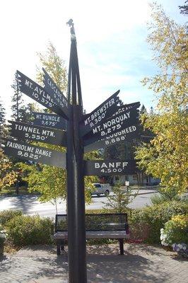 signpost indicating the mountains surrounding Banff
