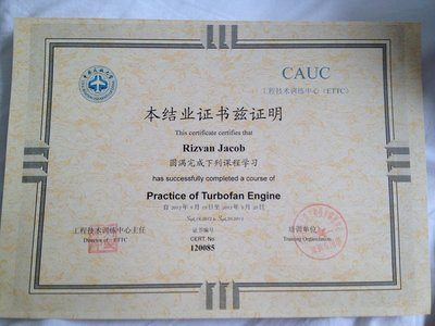 Certificate from CAUC