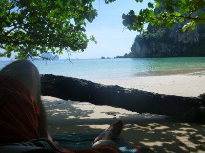 Shady beach spot.